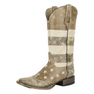 Roper Western Boots Womens American Flag Brown