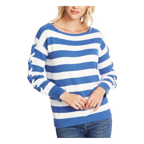 CECE Womens Blue Striped Long Sleeve Boat Neck Sweater Size XS