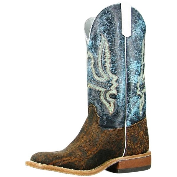 Olathe Western Boots Mens Square Toe Cowboy Elephant Rust Turq