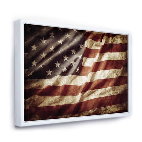 Designart 'American Flag' Contemporary Framed Canvas Art Print