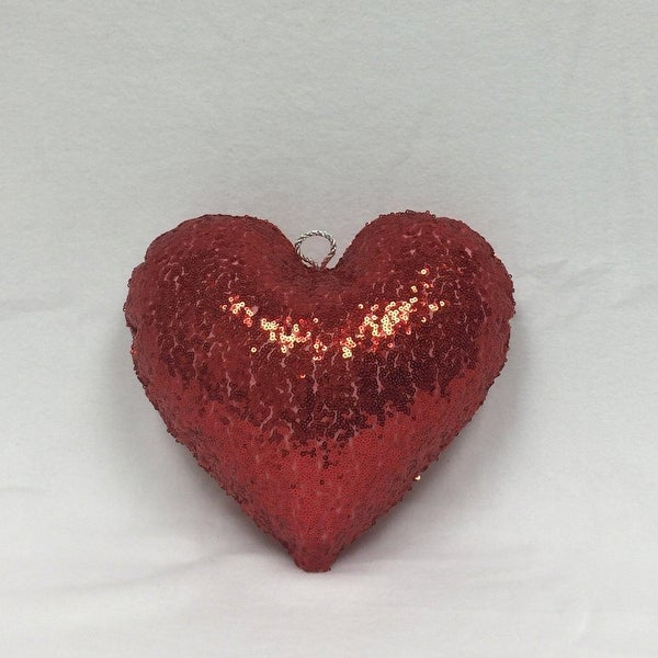 """12"""" Sparkly Red Inflatable Sequin Heart Christmas Ornament"""