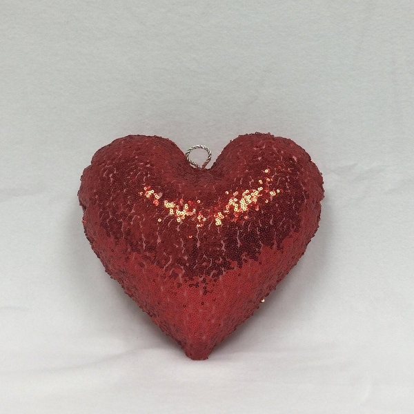 "16"" Sparkly Red Inflatable Sequin Heart Christmas Ornament"