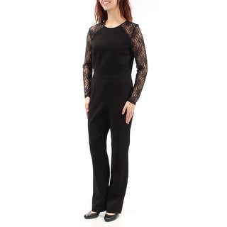 Womens Black Jewel Neck Long Sleeve Formal Jumpsuit Size 0