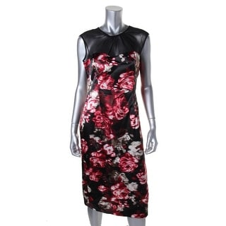 London Times Womens Satin Sleeveless Cocktail Dress - 12