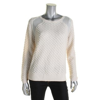 French Connection Womens Ella Pullover Sweater Mesh Inset Textured Knit