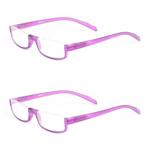 Purple Half Rim Rectangle Reading Glasses - 2 Pairs BONUS Case