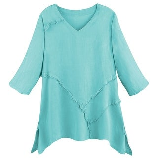 Women's Tunic Top - Relaxed Weekend Linen V-Neck Shirt
