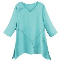 3e80c2b4e1b Shop Women's Button Down Tunic Top - Midnight Blue Leaves Batik ...