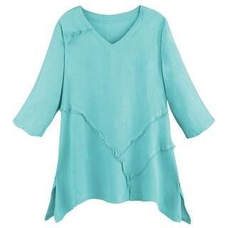 Women's Tunic Top - Relaxed Weekend Linen V-Neck Shirt
