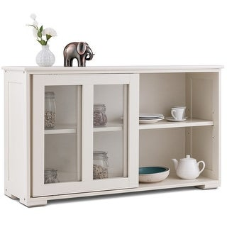 Costway Storage Cabinet Sideboard Buffet Cupboard Glass Sliding Door