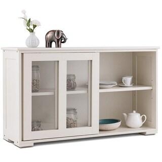 Costway Storage Cabinet Sideboard Buffet Cupboard Glass Sliding Door Pantry Kitchen New - White