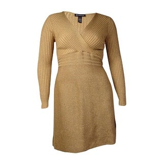 International Concepts Women's Ribbed Shiny Metallic Dress (L, Gold) - Gold - l