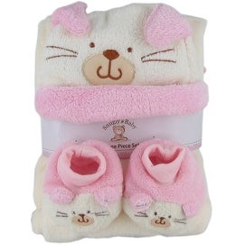 Snugly Baby 3 Pc Set Pink Fleece Baby Blanket w/ Booties & Hat