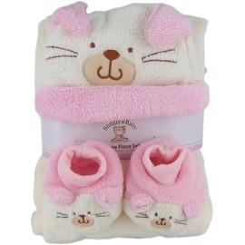 Snugly Baby 3 Pc Set Pink Fleece Baby Blanket w/ Booties & Hat