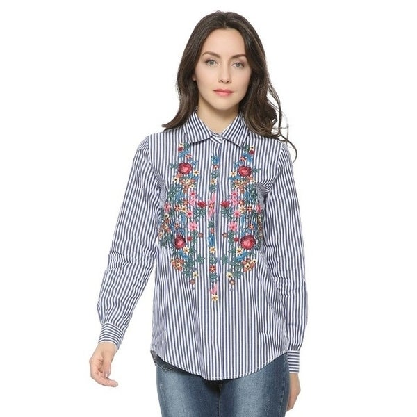 b03d4b4aa49d42 Women elegant striped floral embroidery cotton shirts long sleeve turn-down  collar blouse ladies sweet