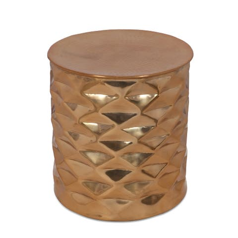 """Massie Modern Glam Handcrafted Diamond Pattern Aluminum Side Table by Christopher Knight Home - 17.25"""" L x 17.25"""" W x 18.50"""" H"""