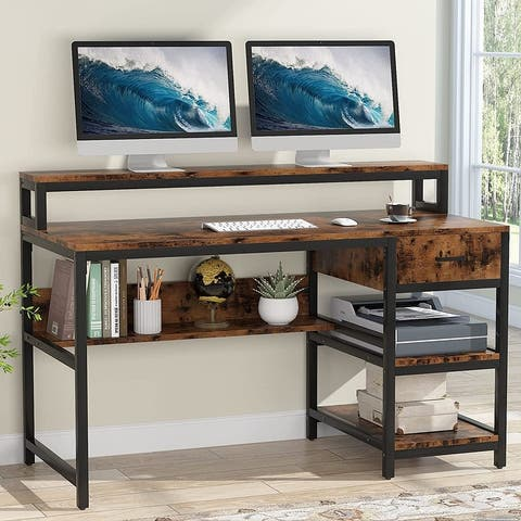 55 inch Industrial Computer Desk with Monitor Shelf and Drawers, Home Office Desk with Hutch and Storage Shelves