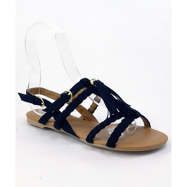 Qupid Lana-289 T-Strap Tassel Gladiator Sandal
