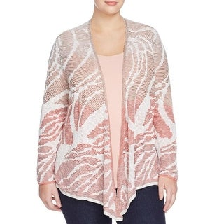 Nic + Zoe Womens Plus Cardigan Sweater Textured Knit