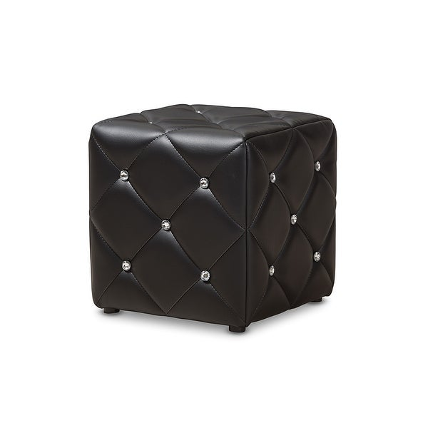 Kayden Black Faux Leather Upholstered Ottoman