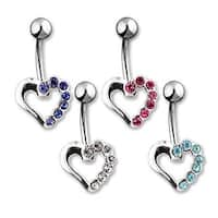 "Navel Belly Button Ring with Silver Hollow Heart CZ - 14GA 3/8"" Long (Sold Ind.)"