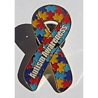 Autism Awareness Puzzle Pin with Words Autism Awareness