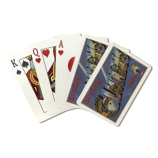 Greetings from Columbus, Ohio (Blue/Purple/White Trim) - Vintage Halftone (Poker Playing Cards Deck)