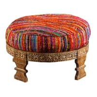 """30"""" Multi-Colored Hand-Woven Upholstered Silk and Wooden Ottoman - Multi"""