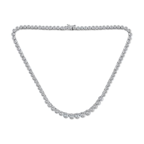 Bridal Round Bubble Tennis Collar Necklace CZ Silver Tone Plated - 16