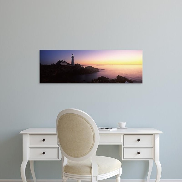 Easy Art Prints Panoramic Images's 'Portland Head Lighthouse built 1791, Cape Elizabeth, Cumberland Maine' Canvas Art