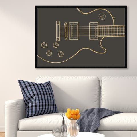 Oliver Gal 'Guitar One' Music and Dance Wall Art Framed Print Music Instruments - Black, Gold