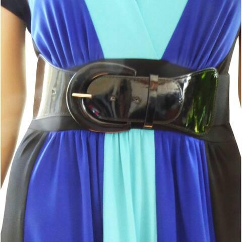 Funfash Plus Size Women Cinch Black Patent Leather Stretch Elastic Belt