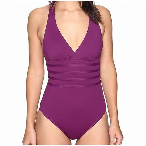 La Blanca Solid Purple Womens Size 8 One-Piece Stretch Swimwear