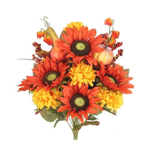 ABN3B002-HARVEST 18 Stems, Artificial Sunflower Bush, Harvest - 20 Inch