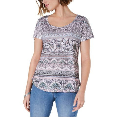 Style & Co. Womens Printed Basic T-Shirt, Multicoloured, PM
