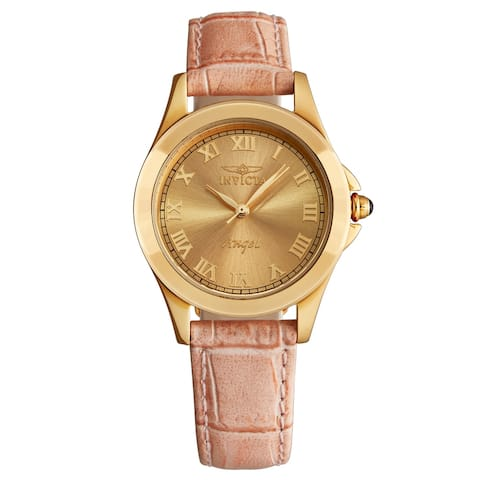 Invicta Women's 14805 'Angel' Gold Dial Pink Leather Strap Quartz Watch
