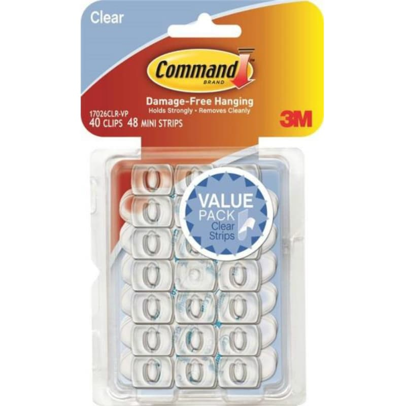 Plastic Clear Command Clear Assorted Refill Strips Reusable 16 // Pack