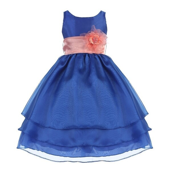 0f6709d4716 Shop Little Girls Royal Blue Coral Sash Flower Girl Dress 2T-6 - Free  Shipping Today - Overstock - 20001052