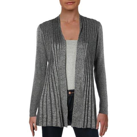 NY Collection Womens Petites Cardigan Top Marled Long Sleeves