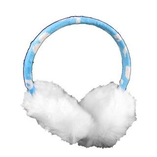 Unique Bargains Lady Faux Fur Heart Print Ear Warmer Earmuffs Wht Blue