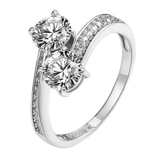 Sterling Silver Solitaire Ring Twisted Band Simulated Diamond Wedding Engagement