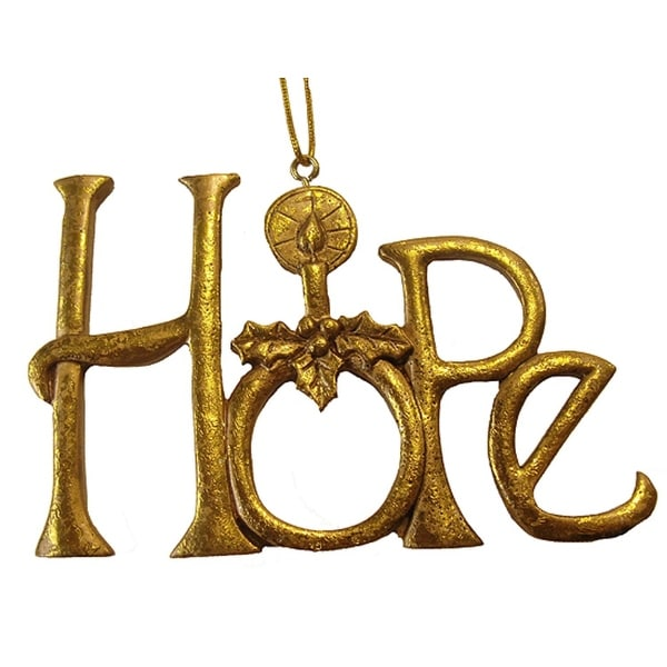 "Winter's Beauty Gold Inspirational Word ""Hope"" Christmas Ornament"