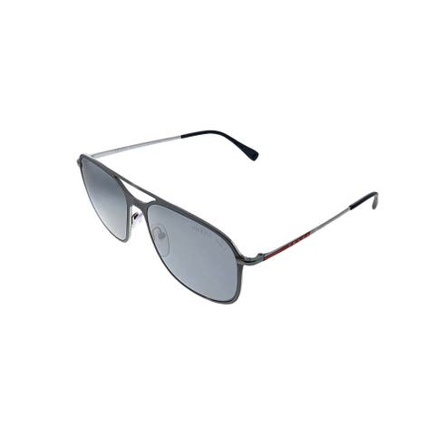 Prada Linea Rossa PS 53TS 7CQ2F2 56mm Unisex Brown Frame Silver Polarized Lens Sunglasses