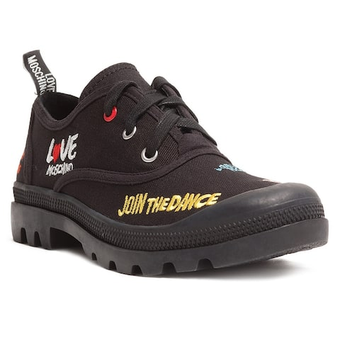 Love Moschino Black Lug Sole Embroidered Sneakers