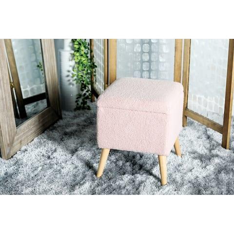 Pink Rubber Modern Storage Stool 19 x 15 x 16 - 15 x 16 x 19