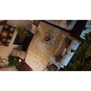 "Safavieh Florida Shag Scrollwork Elegance Cream/ Beige Rug (8'6"" x 12')"
