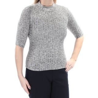 POLLY & ESTHER $90 Womens New 1466 Gray Turtle Neck Short Sleeve Top L B+B
