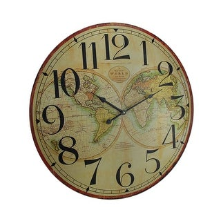 Map of the World Decorative Wooden Wall Clock - 23 X 23 X 1 inches