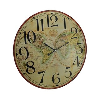 Map of the World Decorative Wooden Wall Clock