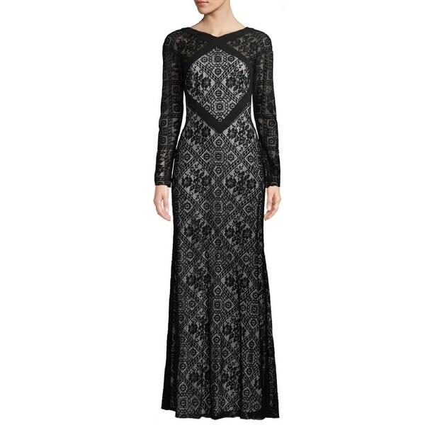 Shop Tadashi Shoji Mixed Lace Long Sleeve Evening Gown Dress Black ...